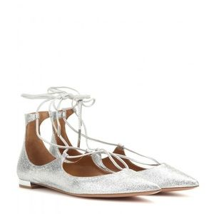 Aquazzura christy leather laceup ballet flat